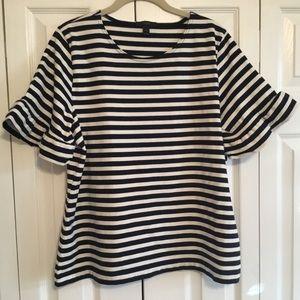 J CREW Ruffle Sleeve T-Shirt Stripe Sz: XL